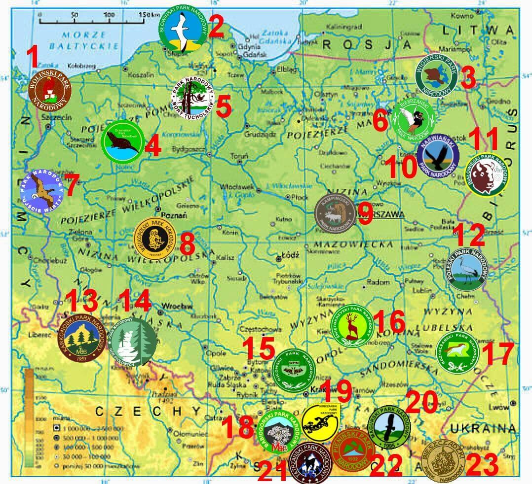 Mapa Parków Narodowych w Polsce i ich symbole