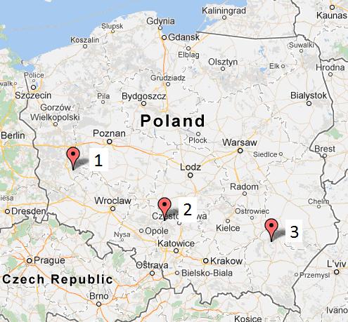 Stany w Polsce, mapa
